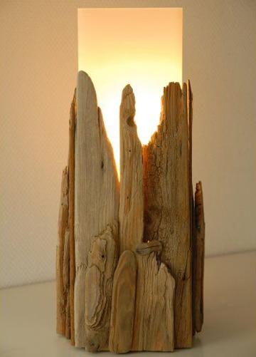 manualidades con madera reciclada lampara