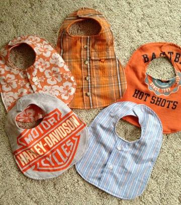 reciclando ropa usada de forma creativa baberos