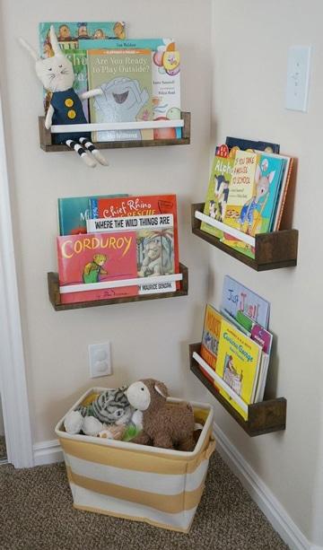 repisas de madera para niños pequeñas