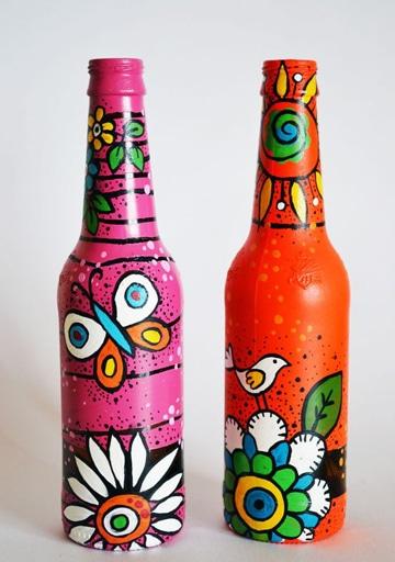 botellas de cerveza decoradas con pintura