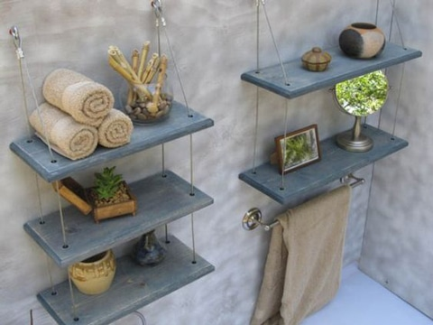 como decorar un baño sencillo con baldas
