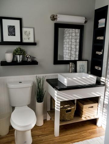 como decorar un baño sencillo con cuadros
