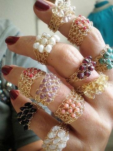 como hacer anillos de bisuteria con piedras
