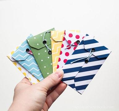 como hacer sobres de cartulina pequeños