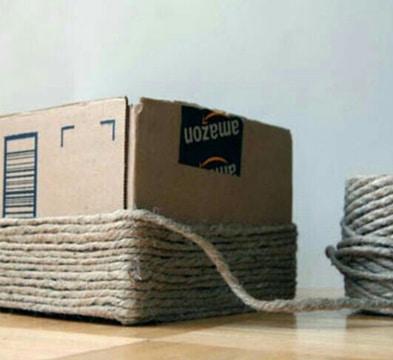 como hacer un basurero de carton forrado