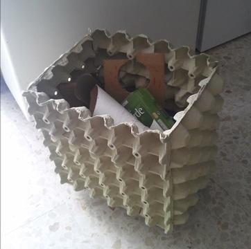 como hacer un basurero de carton reciclado