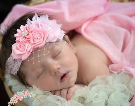 diademas de flores para bebes recien nacidos