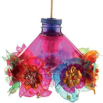 faroles de botellas plasticas de colores