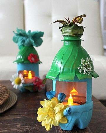 faroles de botellas plasticas pequeñas