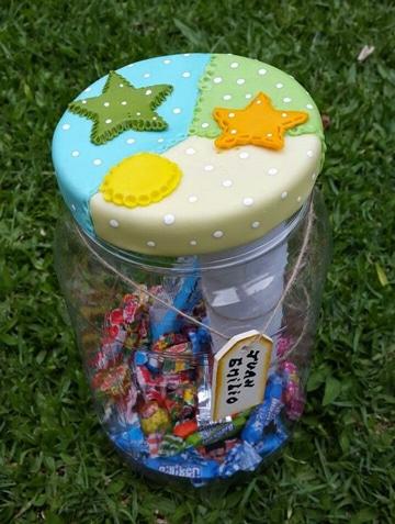 frascos decorados para cumpleaños de recuerdos