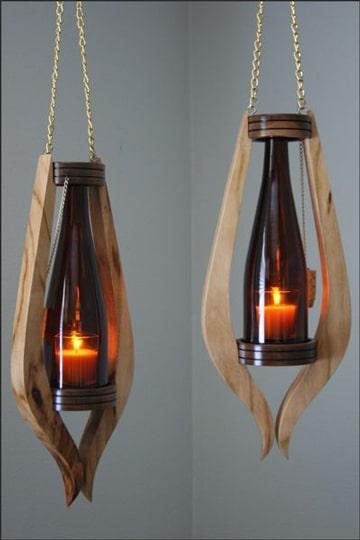 lamparas con botellas de vino colgantes
