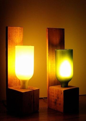lamparas con botellas de vino decorativas
