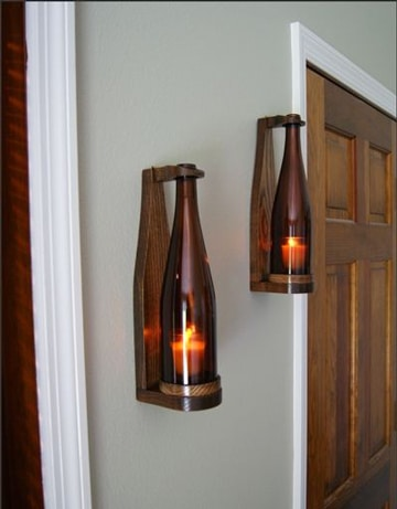 lamparas con botellas de vino elegantes