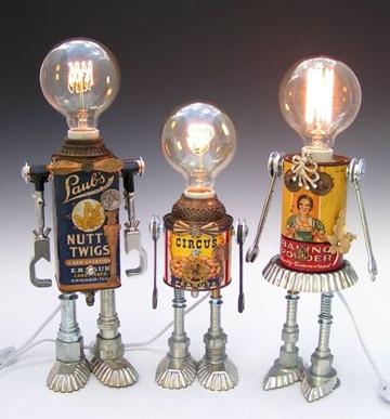 lamparas con material reciclable robot