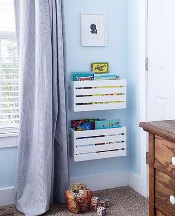 muebles con cajones de verdura para libros