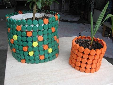 proyectos de reciclaje de plastico con tapas