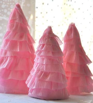como hacer arboles de papel crepe en casa