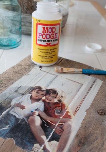 como pasar una foto a madera con cola