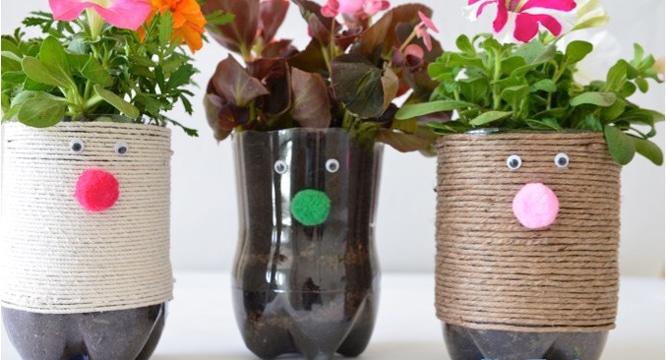 macetas de botellas de plastico decoradas recicladas