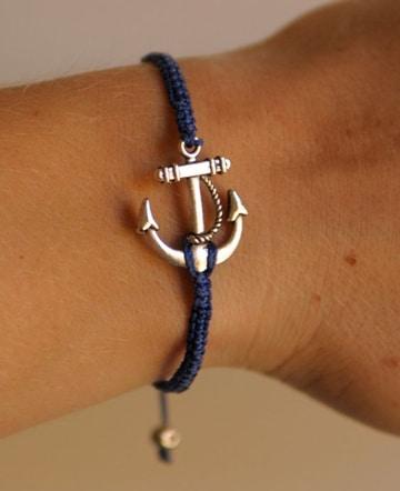 como hacer pulseras de ancla azul marino