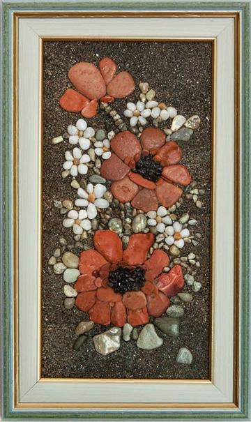 cuadros con piedras pintadas recicladas