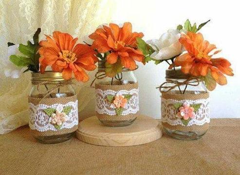 decoracion de frascos de compota reciclados