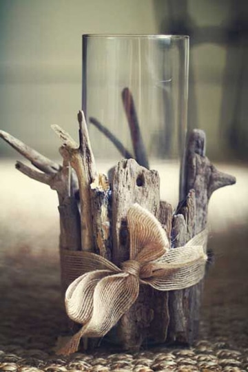 decorar botes de cristal para velas con troncos