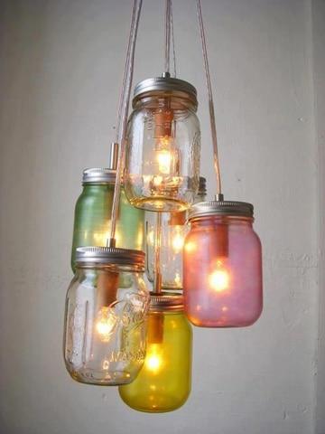 imagenes de lamparas recicladas con vidrio
