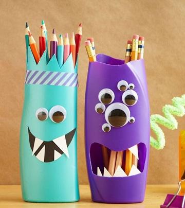 portalapices con material reciclado para niños