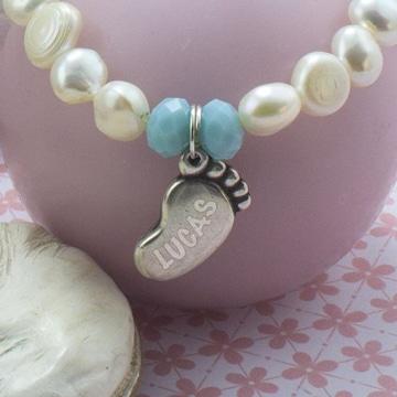 pulseras para bebes recien nacidos de perlas