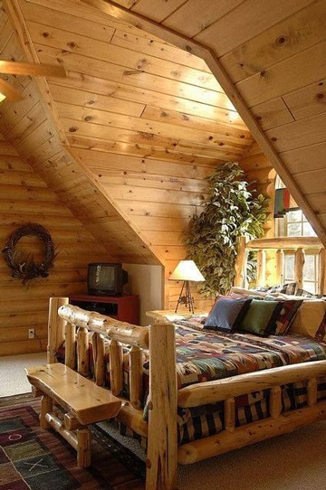 camas rusticas de troncos gruesos