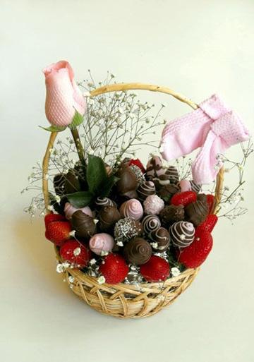 canastas de frutas decoradas con chocolate
