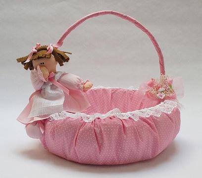 canastas para baby shower rosadas