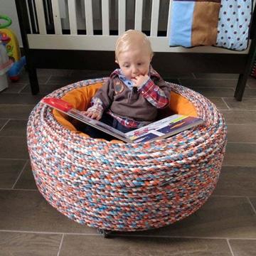 como hacer sillones con llantas para niños