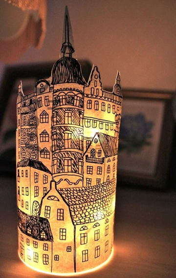 como hacer una lampara de papel decorada