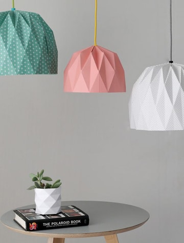 como hacer una lampara de papel origami