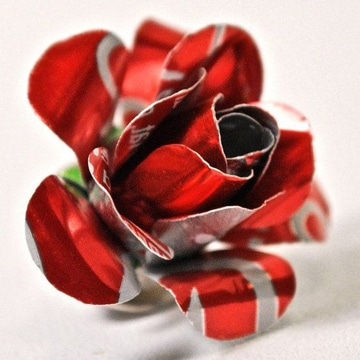 flores con latas de aluminio pequeñas