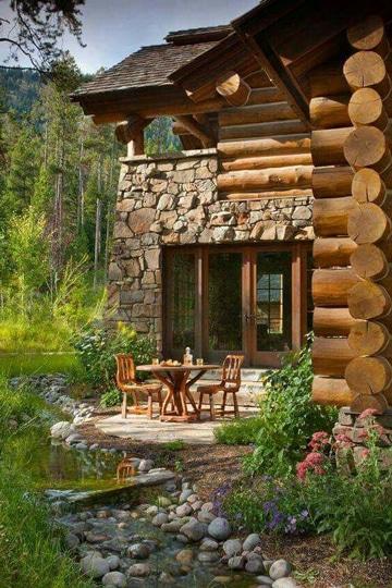 jardines con piedras y troncos super acogedores