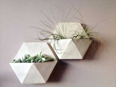 macetas para cactus pequeños estilo geometrico