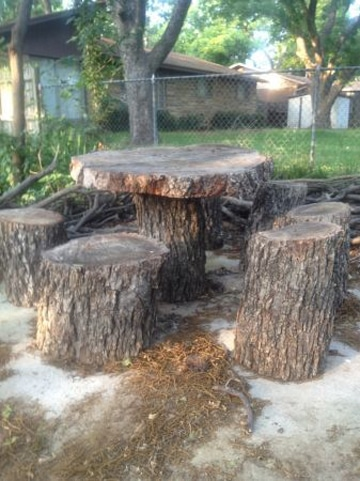 troncos de madera para sentarse acabado rustico
