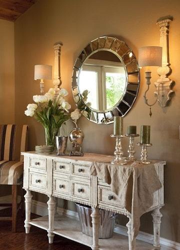 como decorar un espejo redondo vintage