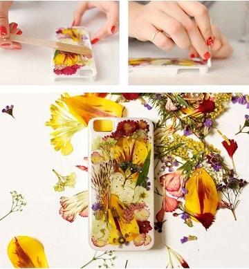 como hacer carcasas de celular flores