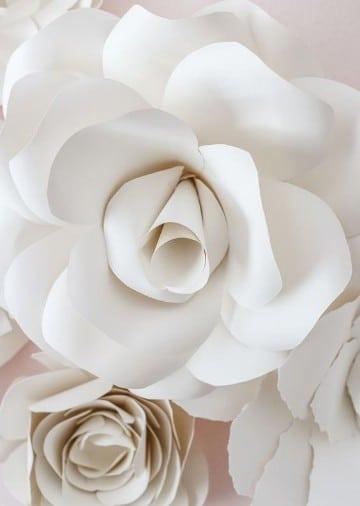 como hacer flores de papel bond blancas