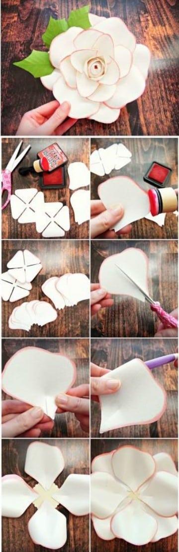 como hacer flores de papel bond faciles