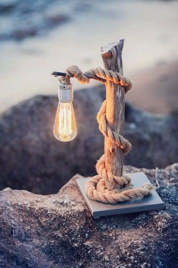 como hacer lamparas de madera vintage