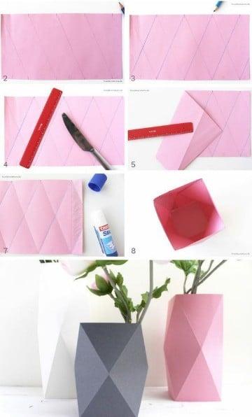 como hacer un florero de papel origami
