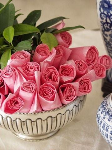 decoracion con servilletas de papel bowl
