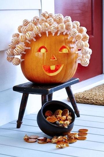 decorar calabaza halloween niños con dulces