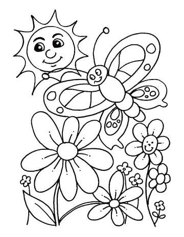 Dibujos Para Colorear De La Primavera Para Ninos Gratis Felíz