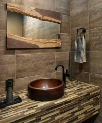 espejos rusticos para baño casa de campo